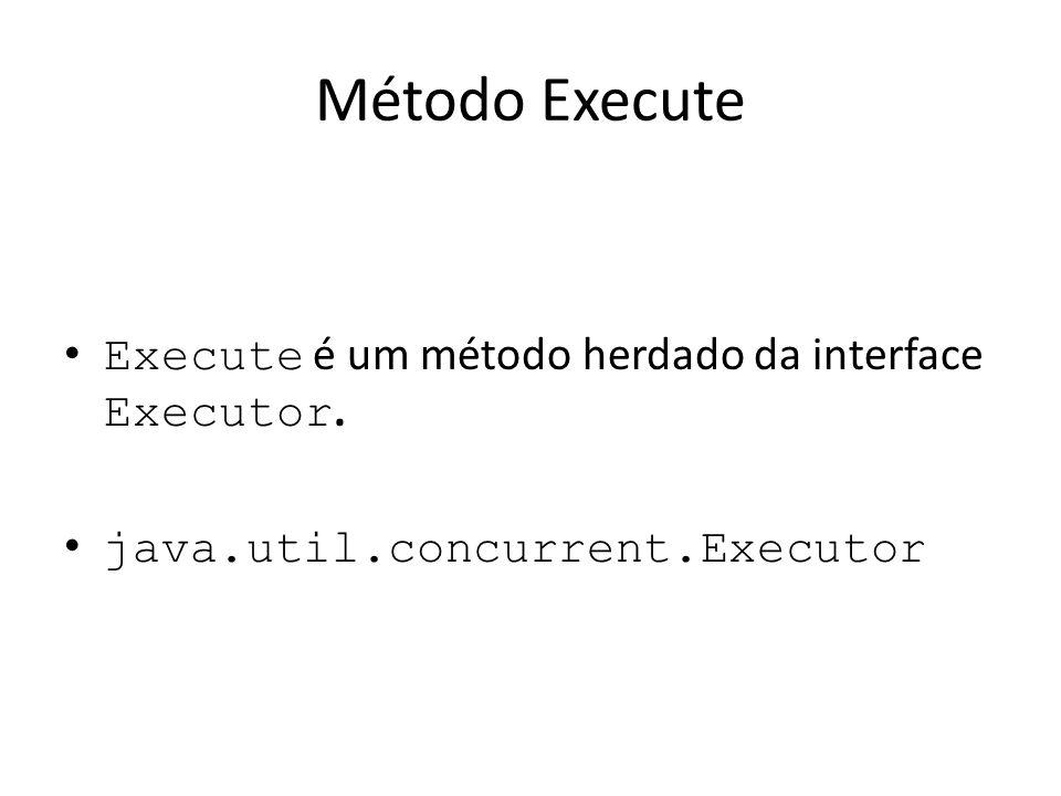 Método Execute Execute é um método herdado da interface Executor. java.util.concurrent.Executor