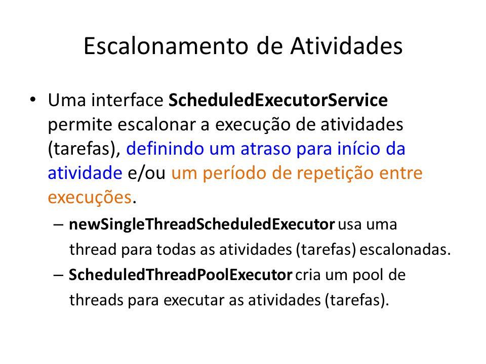 Escalonamento de Atividades Uma interface ScheduledExecutorService permite escalonar a execução de atividades (tarefas), definindo um atraso para início da atividade e/ou um período de repetição entre execuções.
