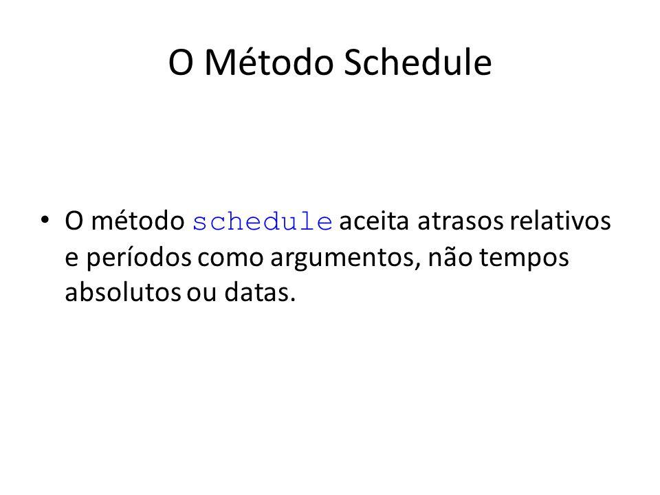 O Método Schedule O método schedule aceita atrasos relativos e períodos como argumentos, não tempos absolutos ou datas.