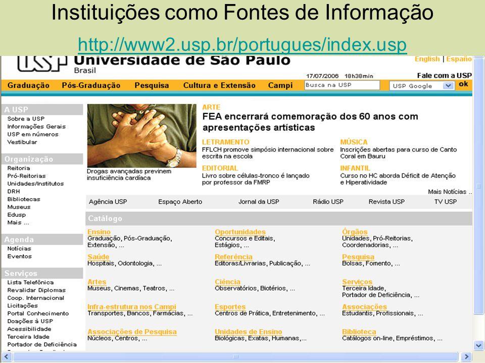 Instituições como Fontes de Informação http://www2.usp.br/portugues/index.usp http://www2.usp.br/portugues/index.usp