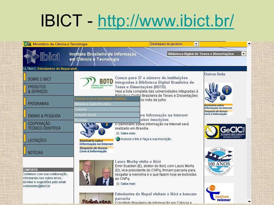 BIBVIRT – USP http://www.bibvirt.futuro.usp.br/index.php http://www.bibvirt.futuro.usp.br/index.php