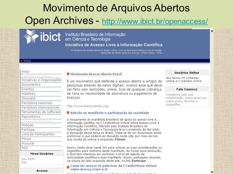 Movimento de Arquivos Abertos Open Archives - http://www.ibict.br/openaccess/ http://www.ibict.br/openaccess/