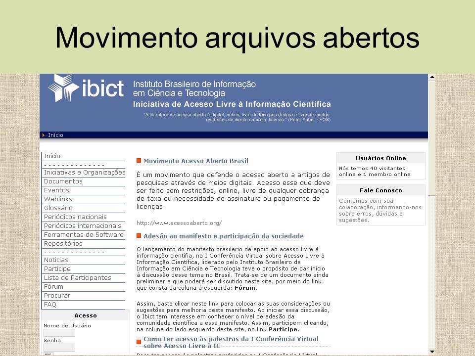 Movimento arquivos abertos