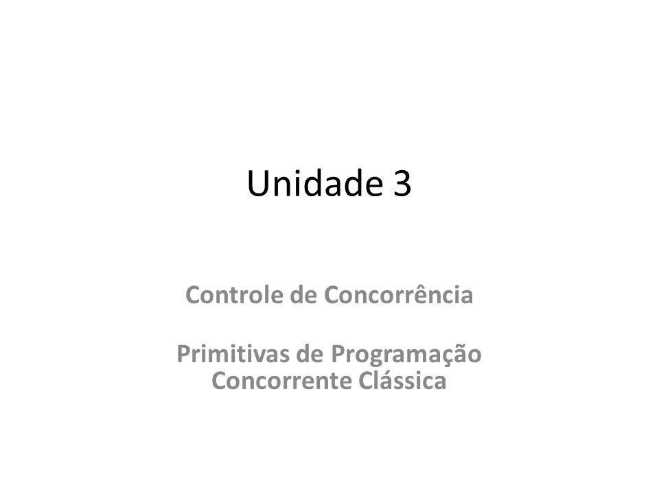 Unidade 3 Controle de Concorrência Primitivas de Programação Concorrente Clássica