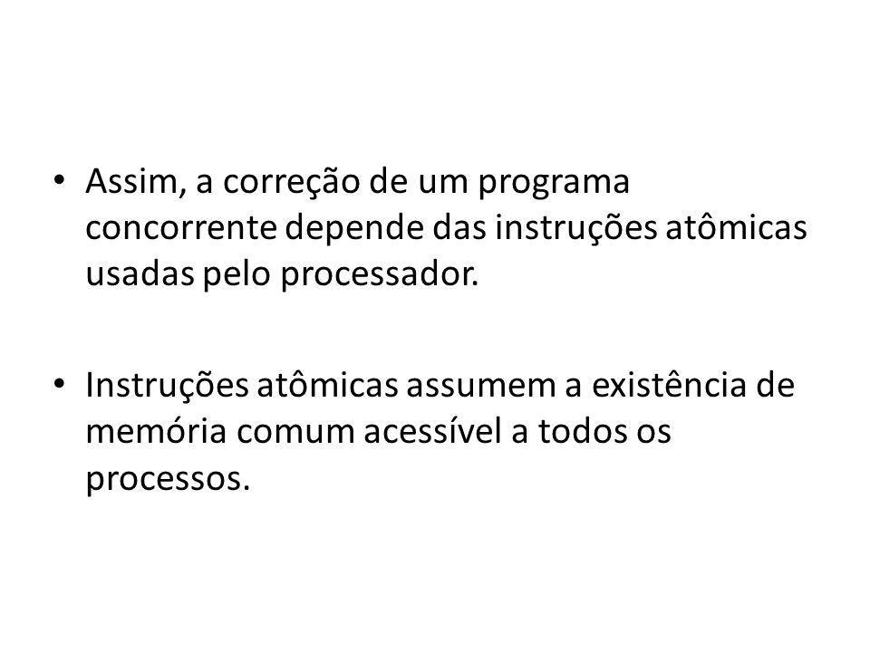 Assim, a correção de um programa concorrente depende das instruções atômicas usadas pelo processador.