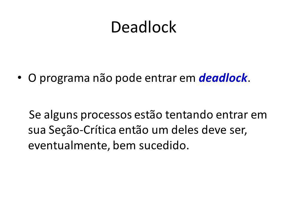 Deadlock O programa não pode entrar em deadlock.
