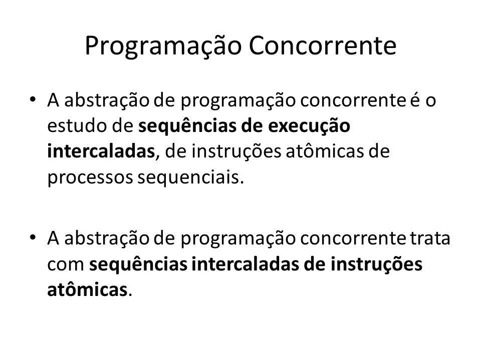 Programação Concorrente A abstração de programação concorrente é o estudo de sequências de execução intercaladas, de instruções atômicas de processos sequenciais.