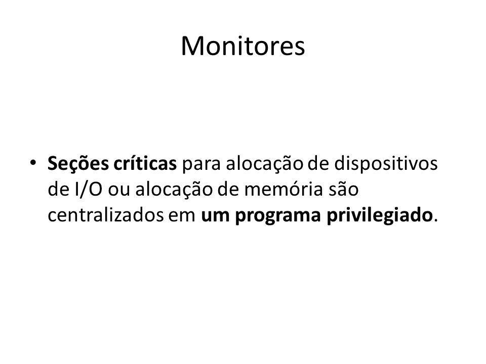 Monitores Seções críticas para alocação de dispositivos de I/O ou alocação de memória são centralizados em um programa privilegiado.