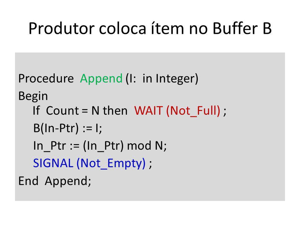 Produtor coloca ítem no Buffer B Procedure Append (I: in Integer) Begin If Count = N then WAIT (Not_Full) ; B(In-Ptr) := I; In_Ptr := (In_Ptr) mod N; SIGNAL (Not_Empty) ; End Append;