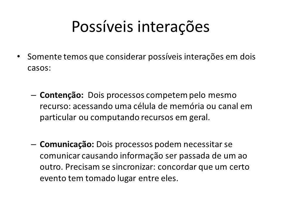 Problema N := 0 Processo P1: begin N := N + 1 end Processo P2: begin N := N + 1 end