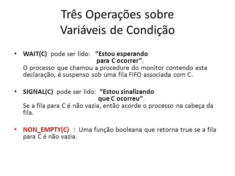 Três Operações sobre Variáveis de Condição WAIT(C) pode ser lido: Estou esperando para C ocorrer.