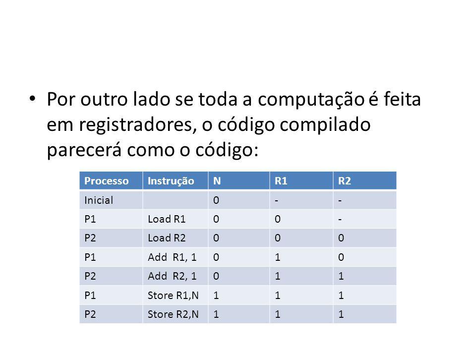 Por outro lado se toda a computação é feita em registradores, o código compilado parecerá como o código: ProcessoInstruçãoNR1R1R2 Inicial0-- P1Load R100- P2Load R2000 P1Add R1, 1010 P2Add R2, 1011 P1Store R1,N111 P2Store R2,N111