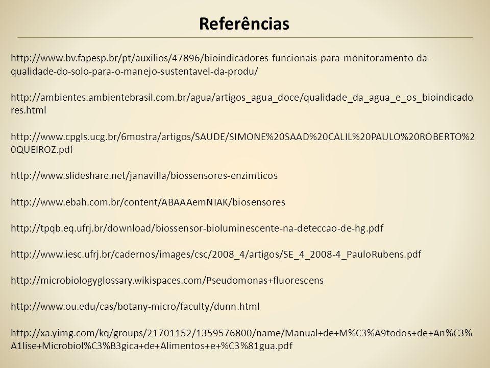Referências http://www.bv.fapesp.br/pt/auxilios/47896/bioindicadores-funcionais-para-monitoramento-da- qualidade-do-solo-para-o-manejo-sustentavel-da-