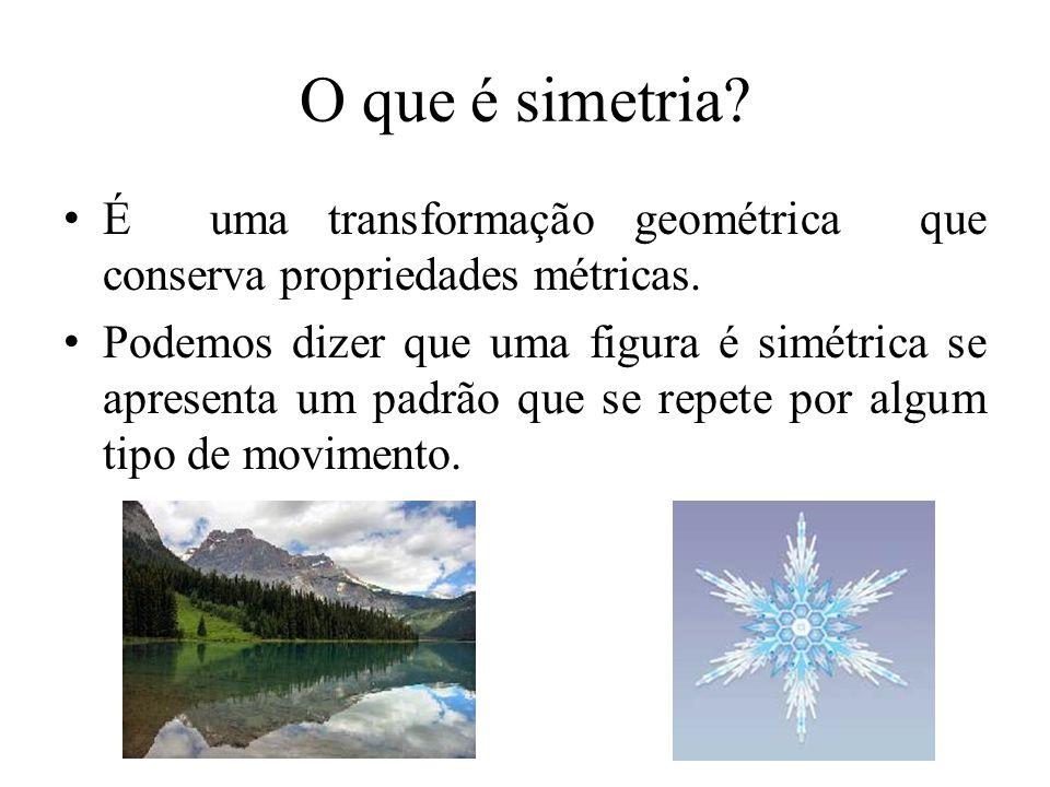 O que é simetria? Relação de tamanho ou de disposição que entre si devem ter as coisas ou as partes de um todo em relação a um ponto, eixo ou plano. D