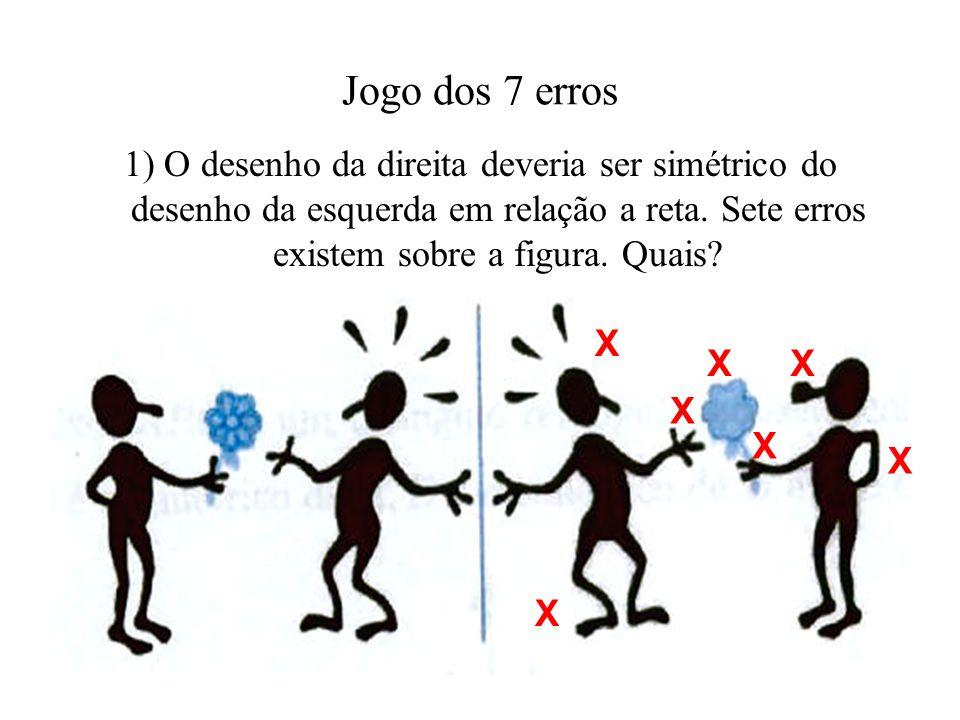 Jogo dos 7 erros 1) O desenho da direita deveria ser simétrico do desenho da esquerda em relação a reta. Sete erros existem sobre a figura. Quais?