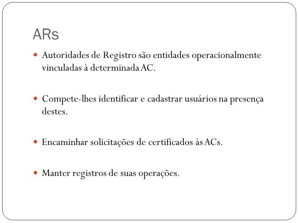 ARs Autoridades de Registro são entidades operacionalmente vinculadas à determinada AC. Compete-lhes identificar e cadastrar usuários na presença dest
