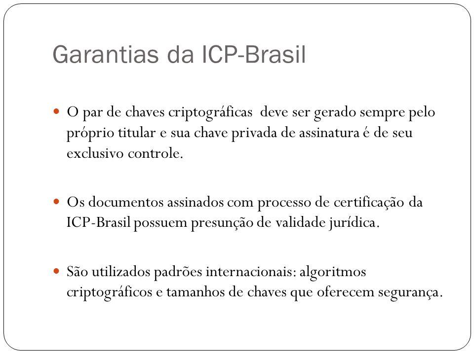Garantias da ICP-Brasil O par de chaves criptográficas deve ser gerado sempre pelo próprio titular e sua chave privada de assinatura é de seu exclusiv