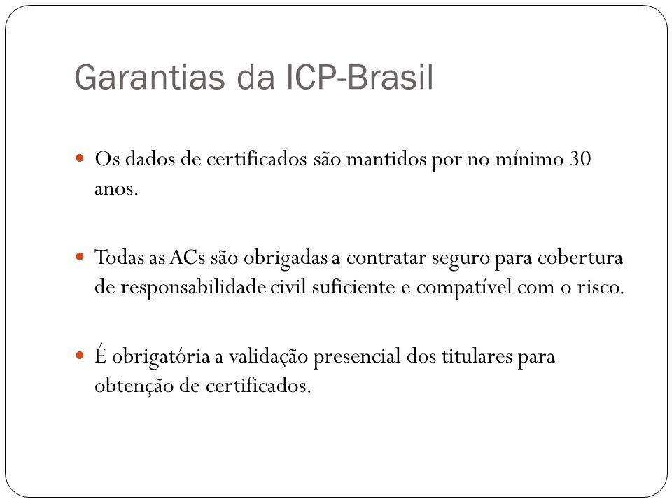 Garantias da ICP-Brasil Os dados de certificados são mantidos por no mínimo 30 anos. Todas as ACs são obrigadas a contratar seguro para cobertura de r