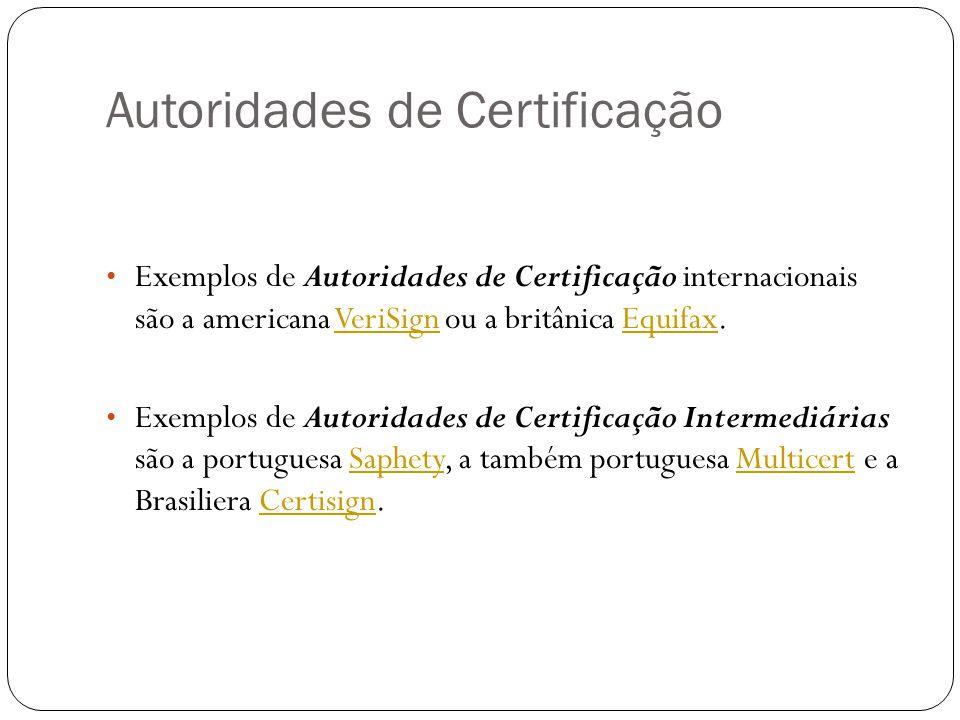Autoridades de Certificação Exemplos de Autoridades de Certificação internacionais são a americana VeriSign ou a britânica Equifax.VeriSignEquifax Exe