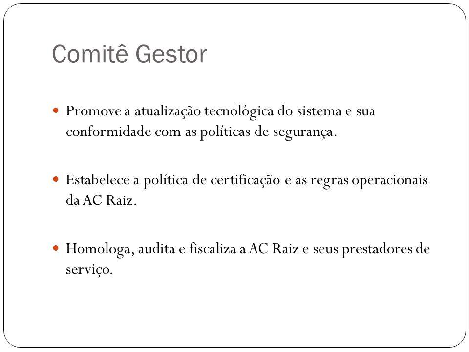 Comitê Gestor Promove a atualização tecnológica do sistema e sua conformidade com as políticas de segurança. Estabelece a política de certificação e a