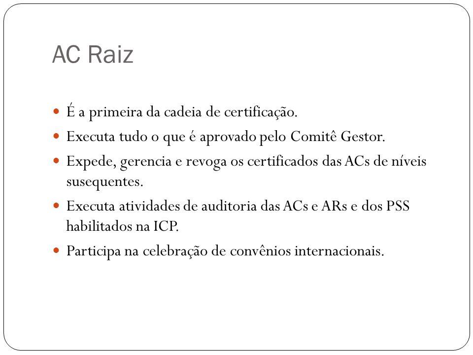 AC Raiz É a primeira da cadeia de certificação. Executa tudo o que é aprovado pelo Comitê Gestor. Expede, gerencia e revoga os certificados das ACs de
