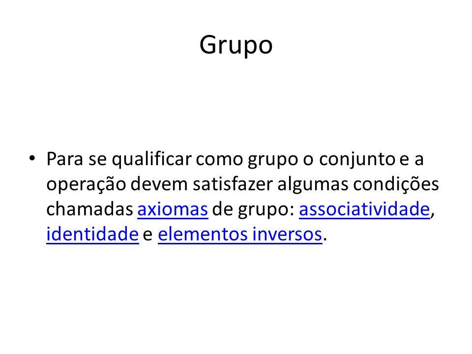 Grupo Para se qualificar como grupo o conjunto e a operação devem satisfazer algumas condições chamadas axiomas de grupo: associatividade, identidade e elementos inversos.axiomasassociatividade identidadeelementos inversos
