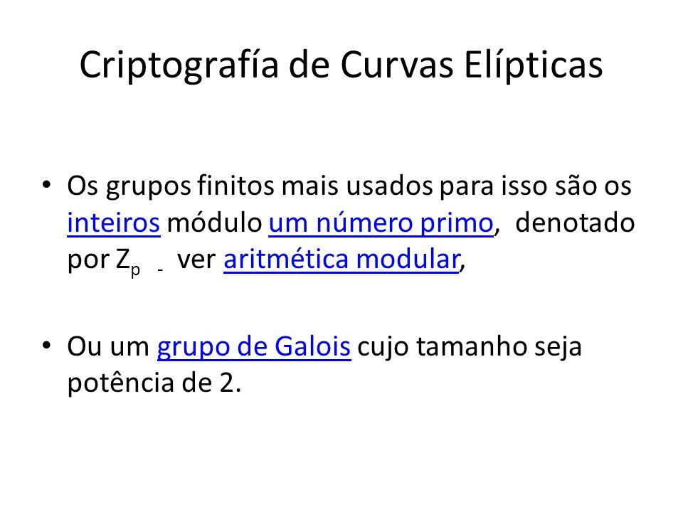 Criptografía de Curvas Elípticas Os grupos finitos mais usados para isso são os inteiros módulo um número primo, denotado por Z p - ver aritmética modular, inteirosaritmética modular Ou um grupo de Galois cujo tamanho seja potência de 2.grupo de Galois