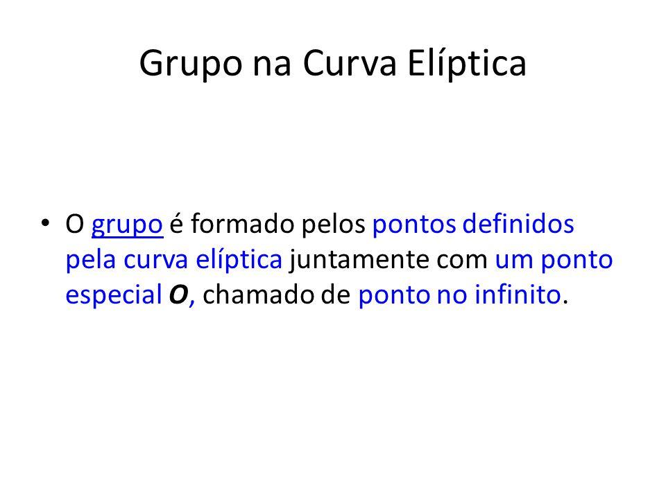 Grupo na Curva Elíptica O grupo é formado pelos pontos definidos pela curva elíptica juntamente com um ponto especial O, chamado de ponto no infinito.