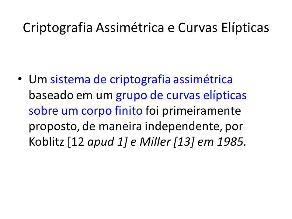 Criptografia Assimétrica e Curvas Elípticas Um sistema de criptografia assimétrica baseado em um grupo de curvas elípticas sobre um corpo finito foi primeiramente proposto, de maneira independente, por Koblitz [12 apud 1] e Miller [13] em 1985.