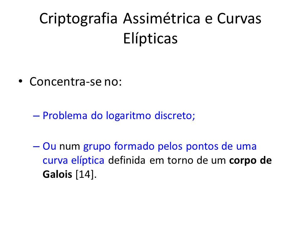 Criptografia Assimétrica e Curvas Elípticas Concentra-se no: – Problema do logaritmo discreto; – Ou num grupo formado pelos pontos de uma curva elíptica definida em torno de um corpo de Galois [14].