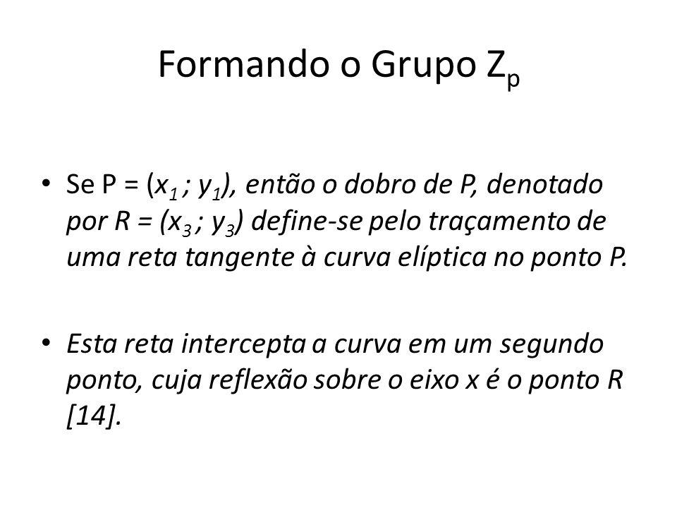 Formando o Grupo Z p Se P = (x 1 ; y 1 ), então o dobro de P, denotado por R = (x 3 ; y 3 ) define-se pelo traçamento de uma reta tangente à curva elíptica no ponto P.