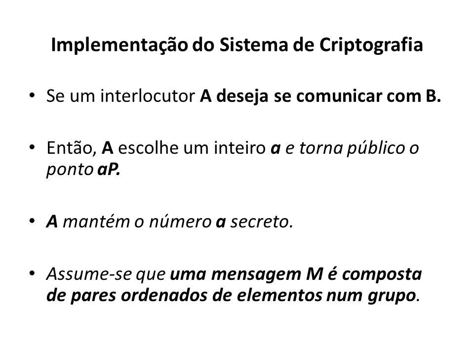 Implementação do Sistema de Criptografia Se um interlocutor A deseja se comunicar com B.