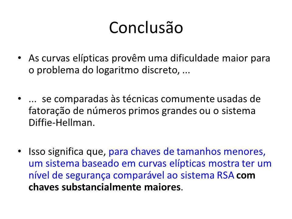 Conclusão As curvas elípticas provêm uma dificuldade maior para o problema do logaritmo discreto,......