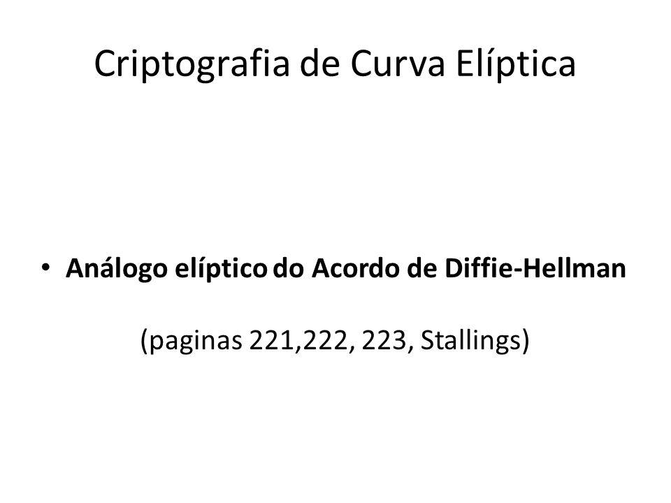 Criptografia de Curva Elíptica Análogo elíptico do Acordo de Diffie-Hellman (paginas 221,222, 223, Stallings)