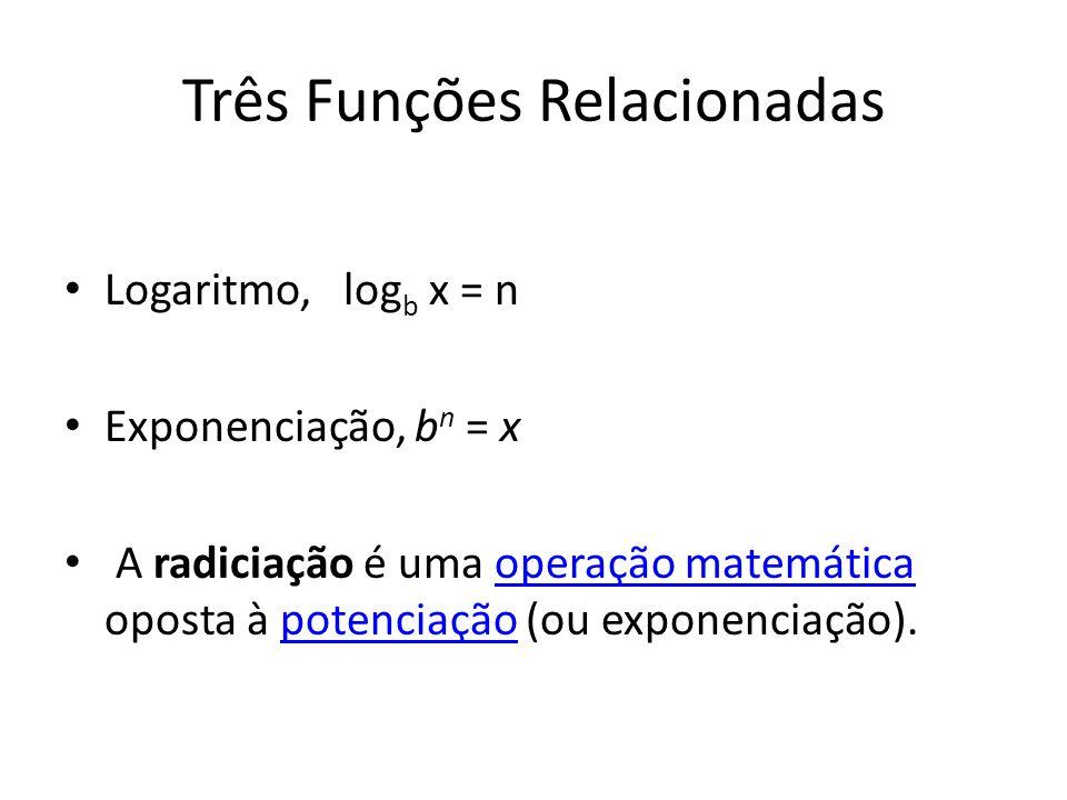 Três Funções Relacionadas Logaritmo, log b x = n Exponenciação, b n = x A radiciação é uma operação matemática oposta à potenciação (ou exponenciação).operação matemáticapotenciação