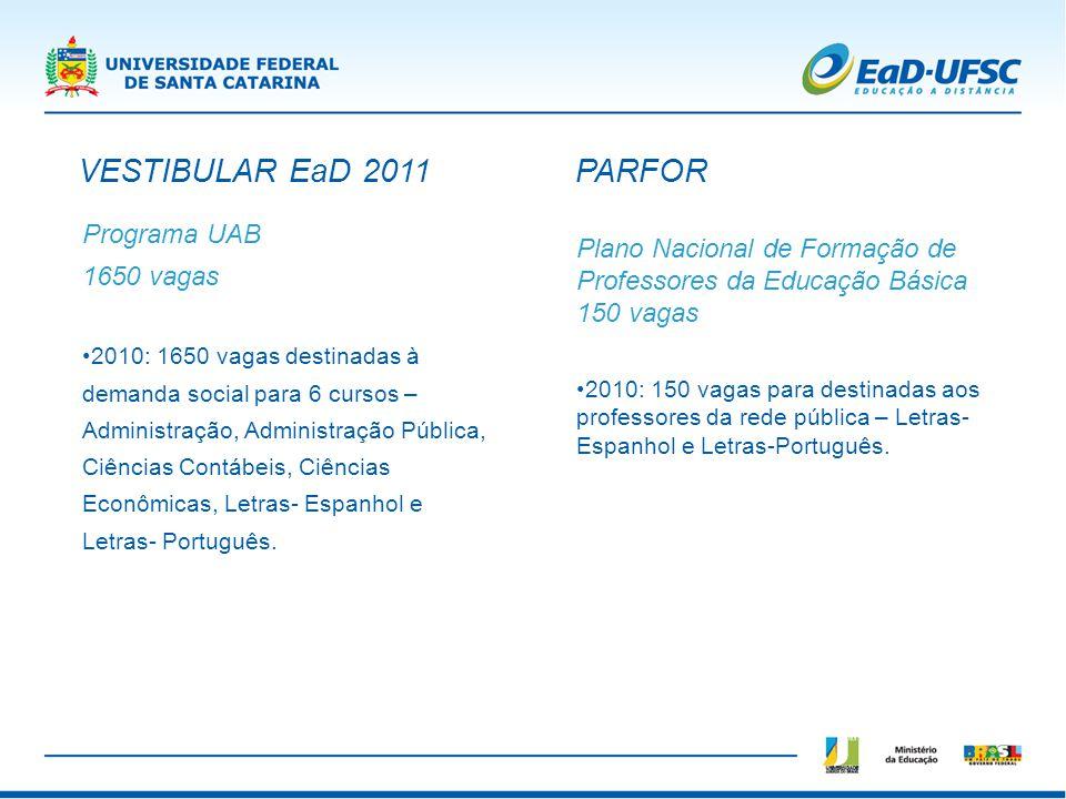 Programa UAB 1650 vagas 2010: 1650 vagas destinadas à demanda social para 6 cursos – Administração, Administração Pública, Ciências Contábeis, Ciência