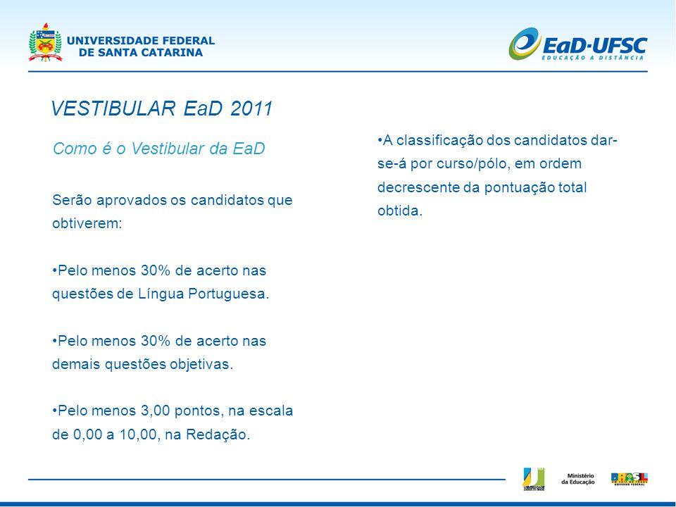 Como é o Vestibular da EaD Serão aprovados os candidatos que obtiverem: Pelo menos 30% de acerto nas questões de Língua Portuguesa. Pelo menos 30% de