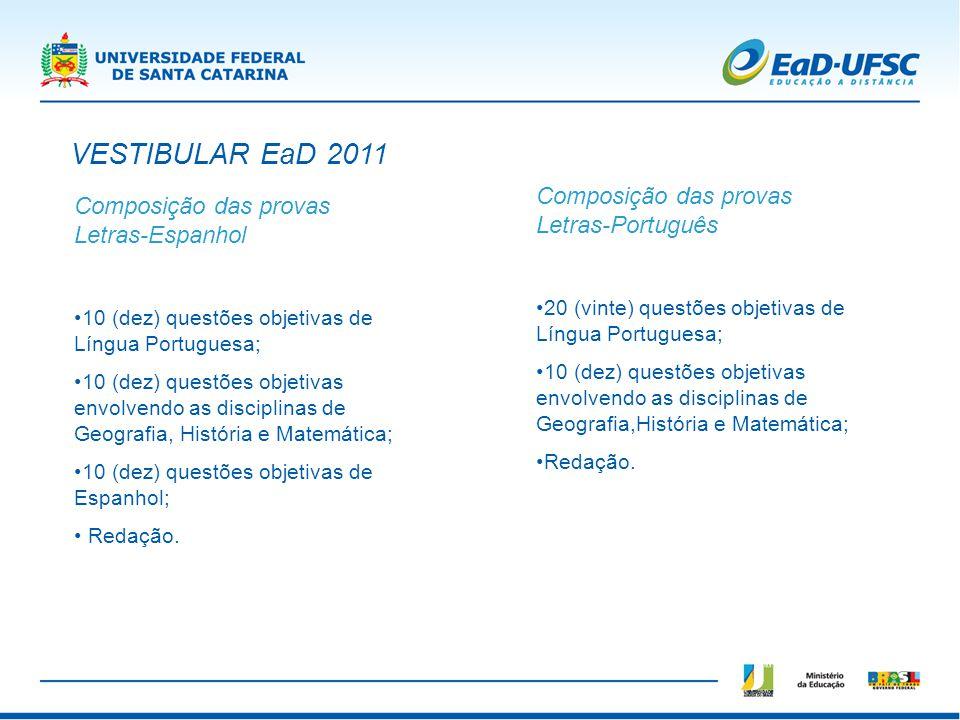 Composição das provas Letras-Espanhol 10 (dez) questões objetivas de Língua Portuguesa; 10 (dez) questões objetivas envolvendo as disciplinas de Geogr