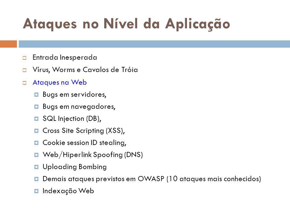 Ataques no Nível da Aplicação Entrada Inesperada Vírus, Worms e Cavalos de Tróia Ataques na Web Bugs em servidores, Bugs em navegadores, SQL Injection