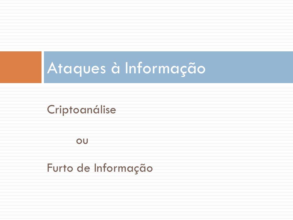 Criptoanálise ou Furto de Informação Ataques à Informação