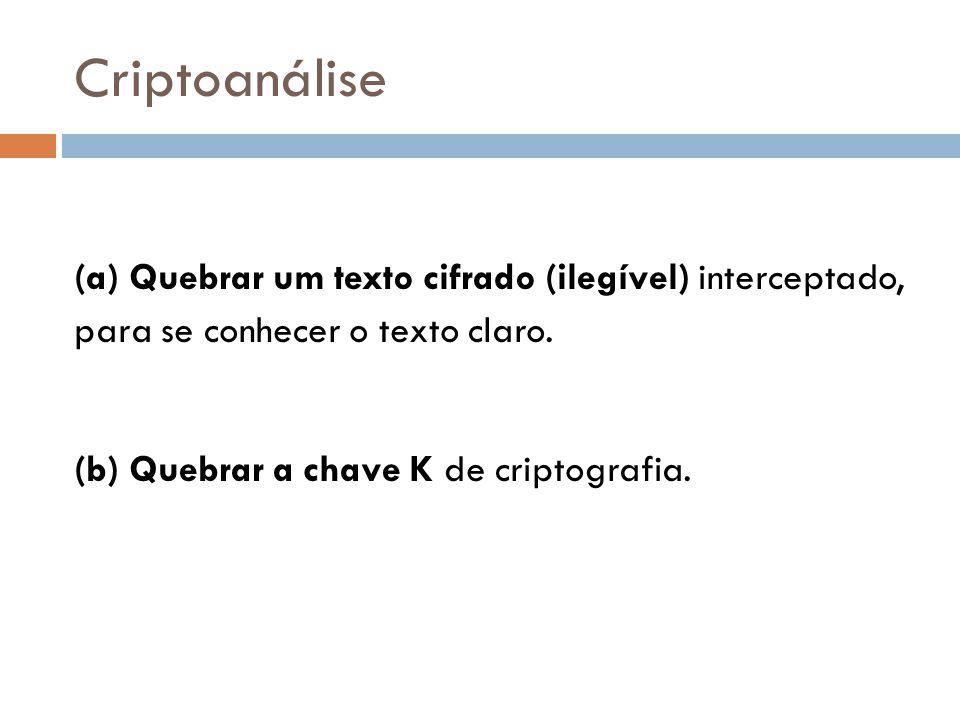 Criptoanálise (a) Quebrar um texto cifrado (ilegível) interceptado, para se conhecer o texto claro. (b) Quebrar a chave K de criptografia.