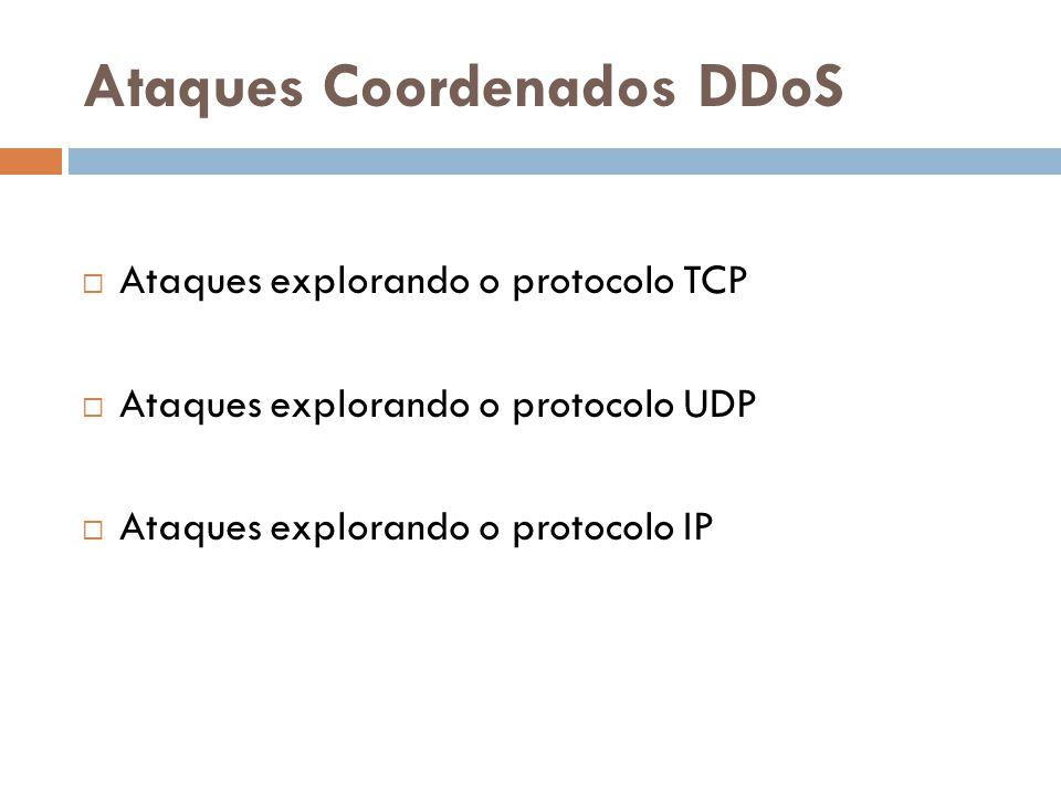 Ataques Coordenados DDoS Ataques explorando o protocolo TCP Ataques explorando o protocolo UDP Ataques explorando o protocolo IP