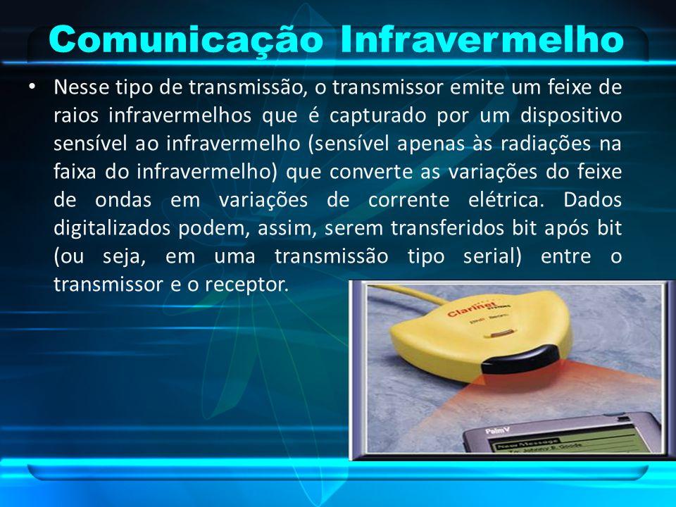 Comunicação Infravermelho Nesse tipo de transmissão, o transmissor emite um feixe de raios infravermelhos que é capturado por um dispositivo sensível