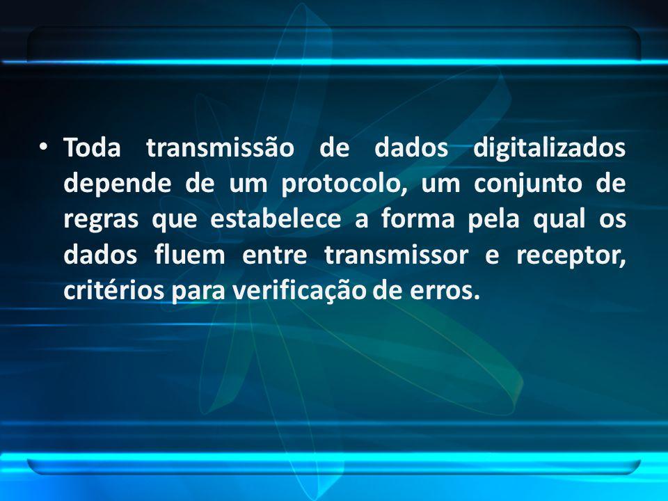 Toda transmissão de dados digitalizados depende de um protocolo, um conjunto de regras que estabelece a forma pela qual os dados fluem entre transmiss