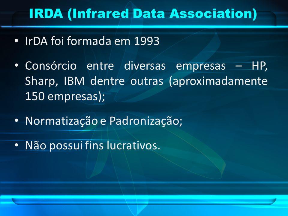 IRDA (Infrared Data Association) IrDA foi formada em 1993 Consórcio entre diversas empresas – HP, Sharp, IBM dentre outras (aproximadamente 150 empres