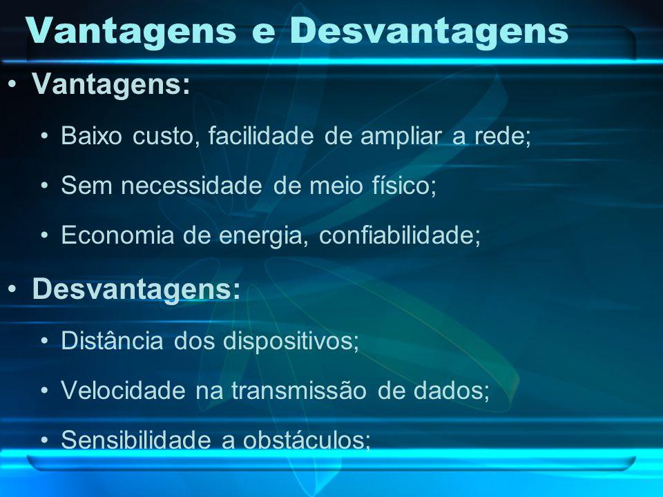 Vantagens e Desvantagens Vantagens: Baixo custo, facilidade de ampliar a rede; Sem necessidade de meio físico; Economia de energia, confiabilidade; De