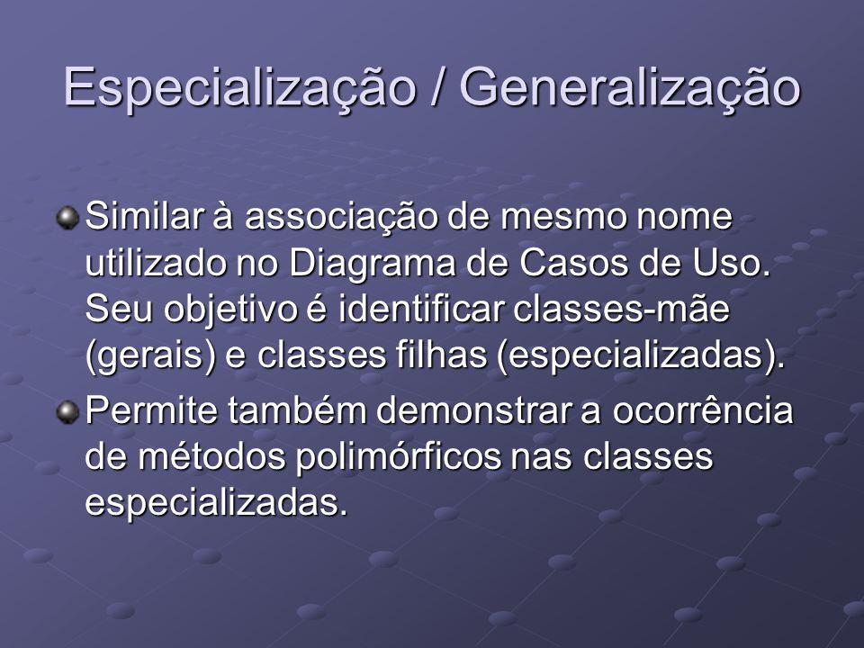Especialização / Generalização Similar à associação de mesmo nome utilizado no Diagrama de Casos de Uso.