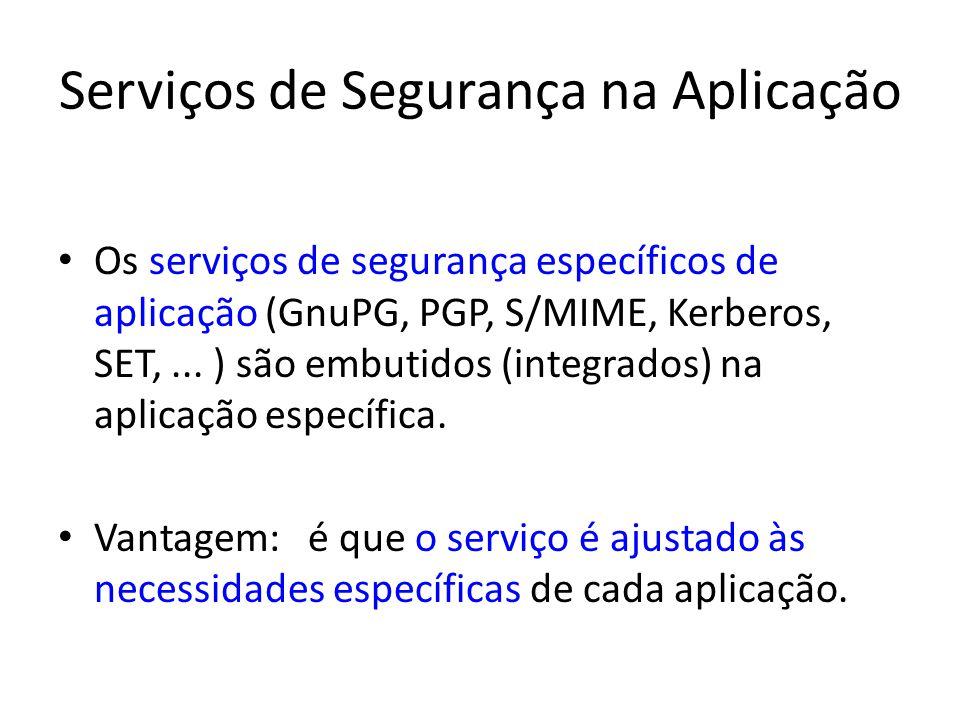 Serviços de Segurança na Aplicação Os serviços de segurança específicos de aplicação (GnuPG, PGP, S/MIME, Kerberos, SET,... ) são embutidos (integrado