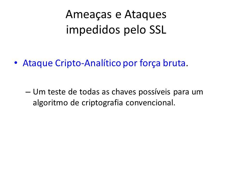 Ameaças e Ataques impedidos pelo SSL Ataque Cripto-Analítico por força bruta. – Um teste de todas as chaves possíveis para um algoritmo de criptografi
