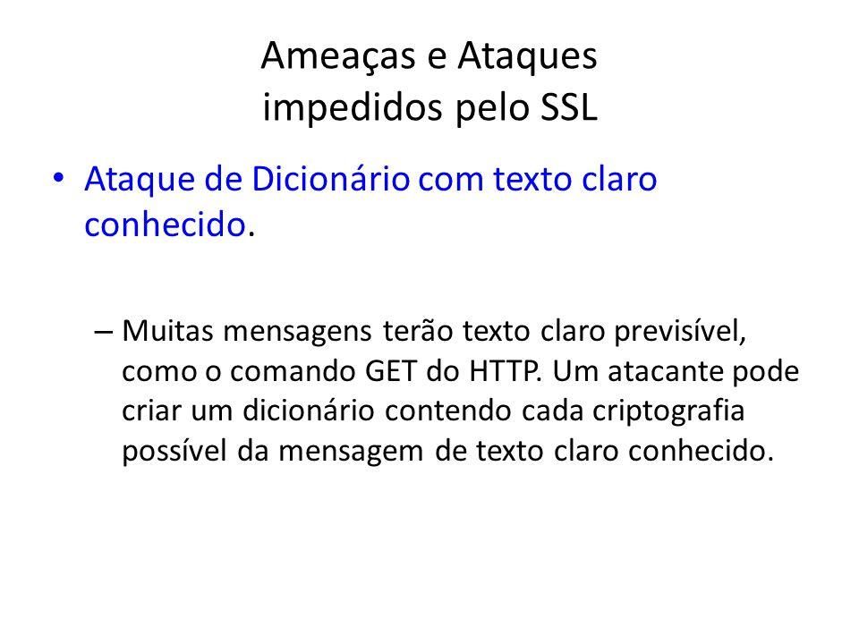 Ameaças e Ataques impedidos pelo SSL Ataque de Dicionário com texto claro conhecido. – Muitas mensagens terão texto claro previsível, como o comando G